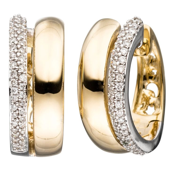 NEU Diamanten Creolen Bicolor 585er 585 Gold Ohrringe Gelbgold 14 Karat 0,30 ct.