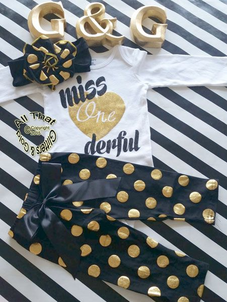 Black and Gold Polka Dot Miss One Derful 1st Birthday Pants Outfits For Baby Girl