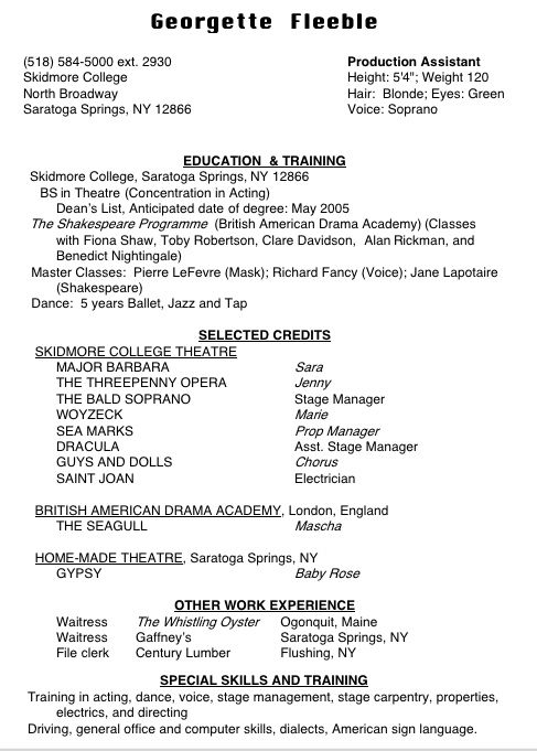 dance resume template for college acting sample microsoft word
