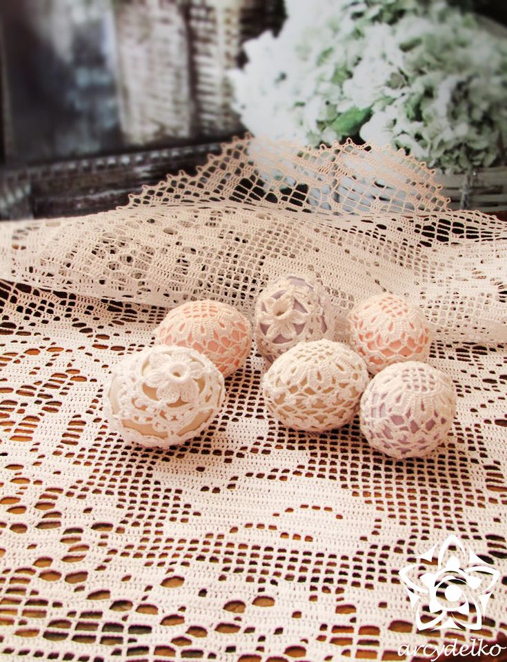 crochet easter, spring, lace eggs