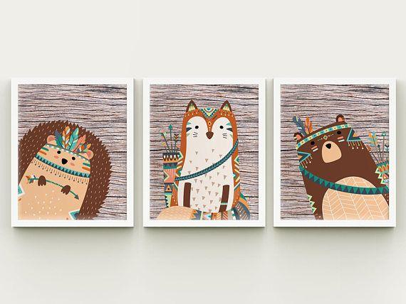 Tribal woodland nursery printable set wall art kids room bear