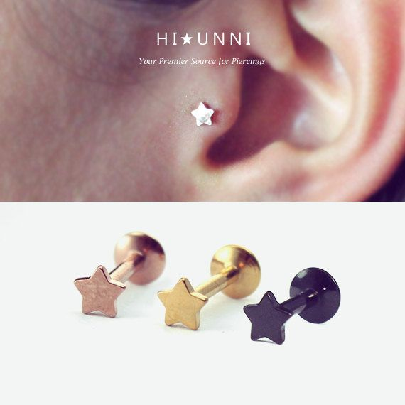 16g Star Titanium Plated Labret piercing / tiny tragus by HiUnni