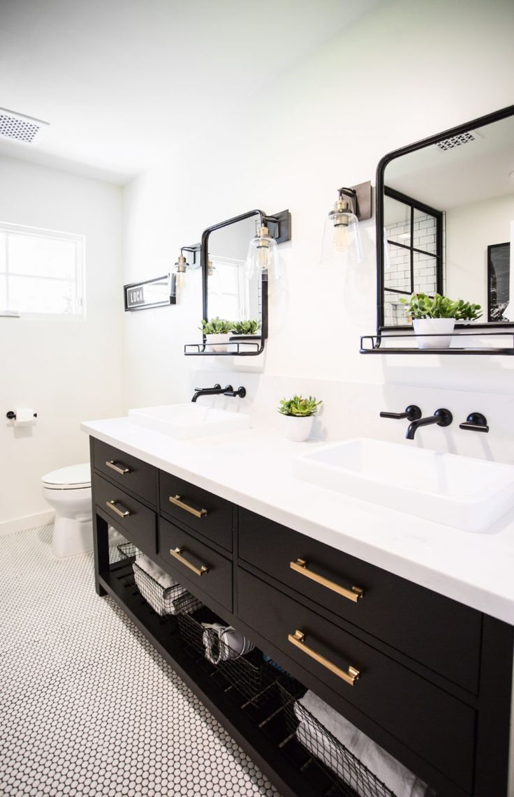 Black And White Bathroom For Our Boys To Have To Host Bathroom Wall Faucets Wall Mount Faucet Bathroom White Bathroom