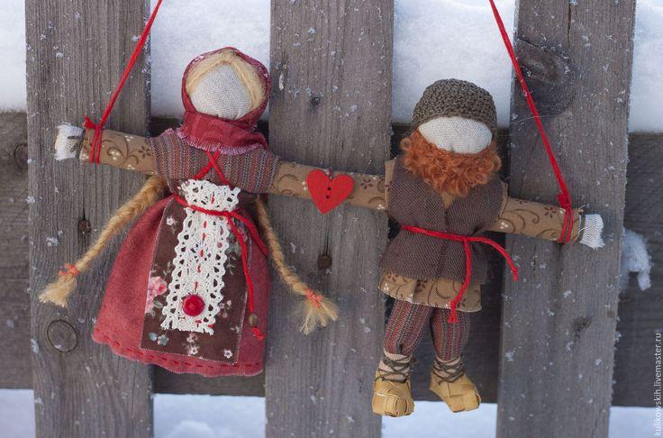 Купить Кукла народная Неразлучники Домашние - ярко-красный, неразлучники, кукла-оберег неразлучники, семья