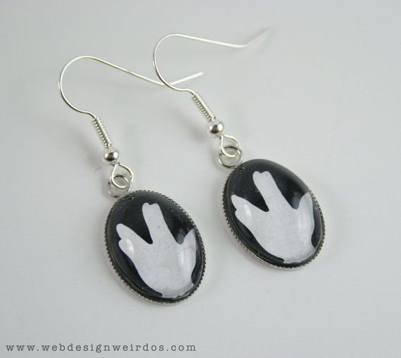 Spock Hand Earrings Star Trek Hand Silhouette by WebDesignWeirdos, $15.00