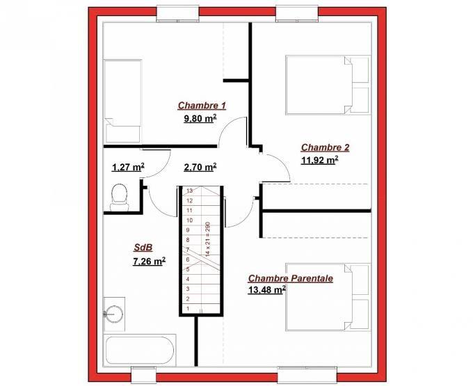 La maison Abesses possède une surface habitable de 96 m² répartie