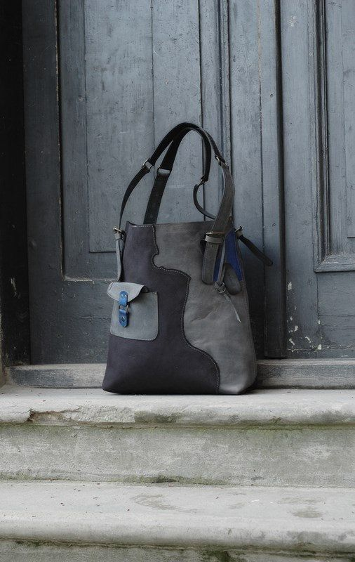 Grey/black/sapphire shopper leather bag handmade by by ladybuq