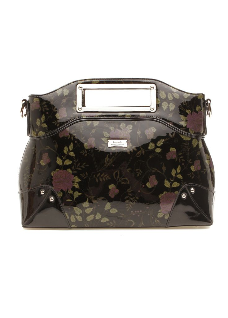 Serenade Leather - Black Vintage Rose Print Leather Handbag