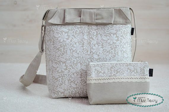 Tessy Bag set|  crossbody bag and zipper clutch with lace print| handbag with make -up bag