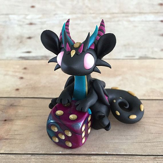 Black and Purple Dice Dragon by DragonsAndBeasties on Etsy