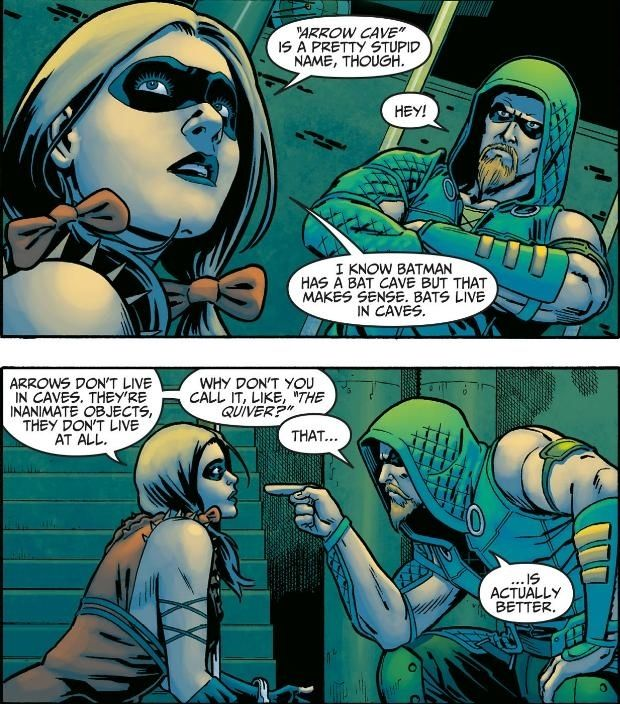 Harley Quinn and the Green Arrow teaming up in Injustice: Gods Among Us . (Best Comic Moments of 2013)