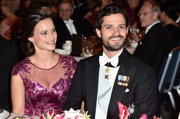 Sofia Hellqvist and Prince Carl Philip of Sweden attend the Nobel Prize Banquet 2014 at Concert Hall on December 10, 2014 in Stockholm, Sweden.