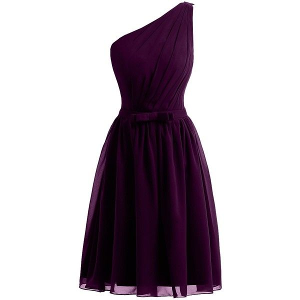 Sunvary New One Shoulder Short Chiffon Cocktail Party Dresses... ($67) ❤ liked on Polyvore featuring dresses, purple cocktail dress, chiffon bridesmaid dresses, short evening dresses, cocktail dresses and short bridesmaid dresses