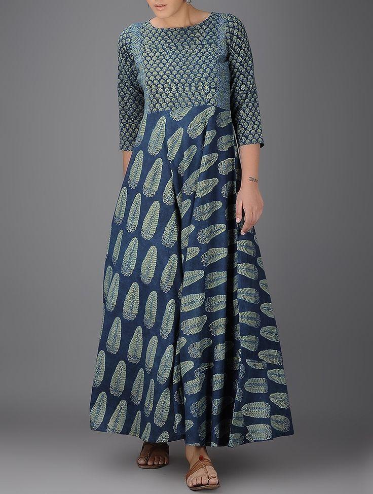 Buy Indigo-Ivory Ajrakh-printed Boat Neck Flared Cotton Kurta Online at Jaypore.com