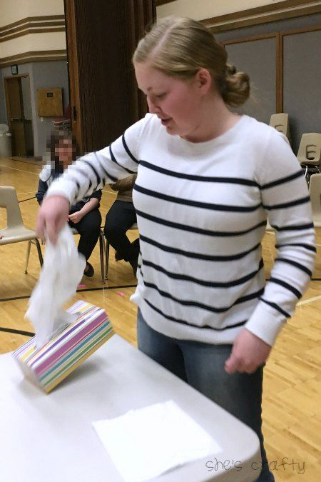 She's crafty: Minute to Win it games for Teens Empty the tissue box one tissue at a time.