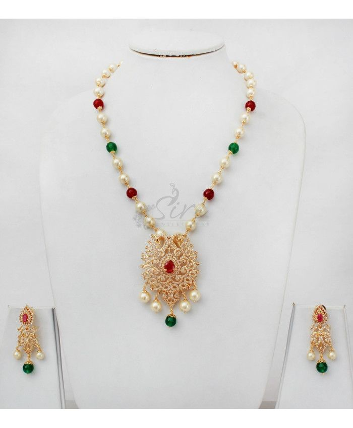 Peacock design AD pendant South Sea Pearl Necklace Set
