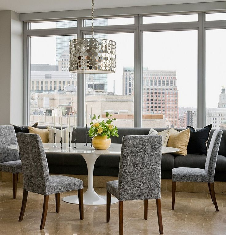 Dining Room White Saarinen Oval Tulip Table And Grey Banquet Built In Bench Also