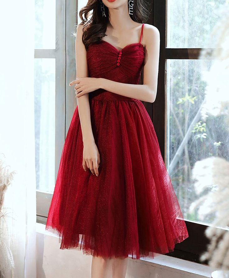 2021 simple sweetheart tulle short prom dress burgundy