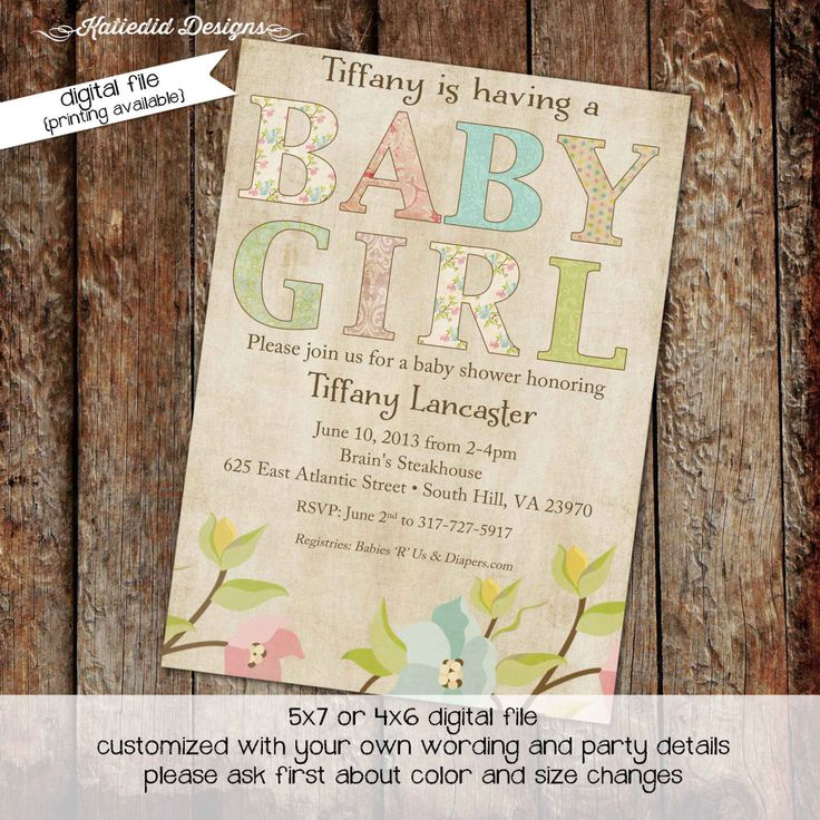 boy baby shower invitations australia%0A baby girl shower invitations with Shabby Chic flowers  digital  printable  file  item