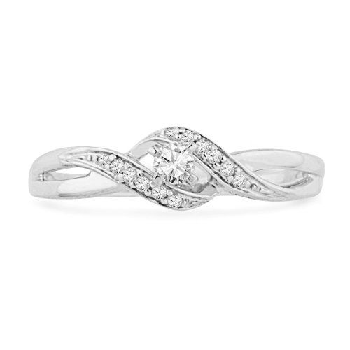 ($149.00) 10KT White Gold Round Diamond Twisted Promise Ring (0.12 cttw)   From D-GOLD