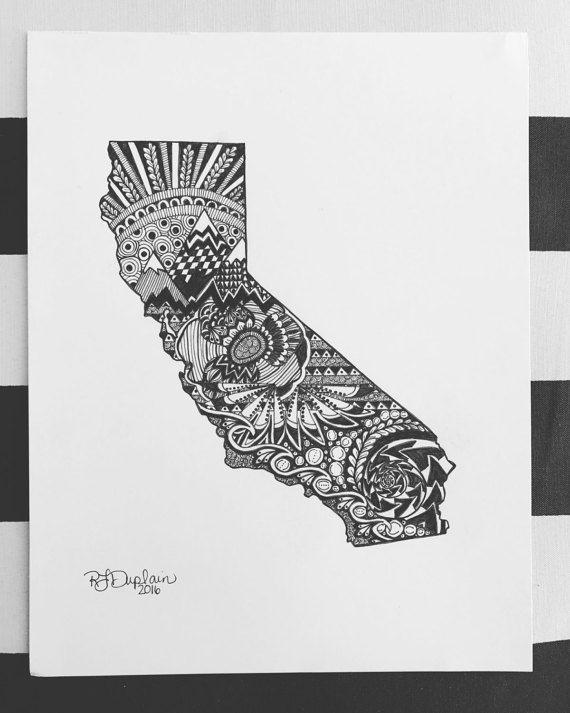 Custom California state art.  Hand drawn. Made to order. Pen and ink.  #zentangle #stateart #penandink #art #artwork  #blackandwhite #illustration #drawing #wallart #california