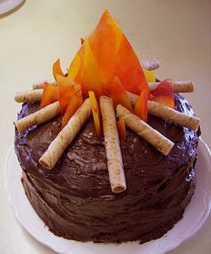 Campfire cake.  Cute for girl scout camping
