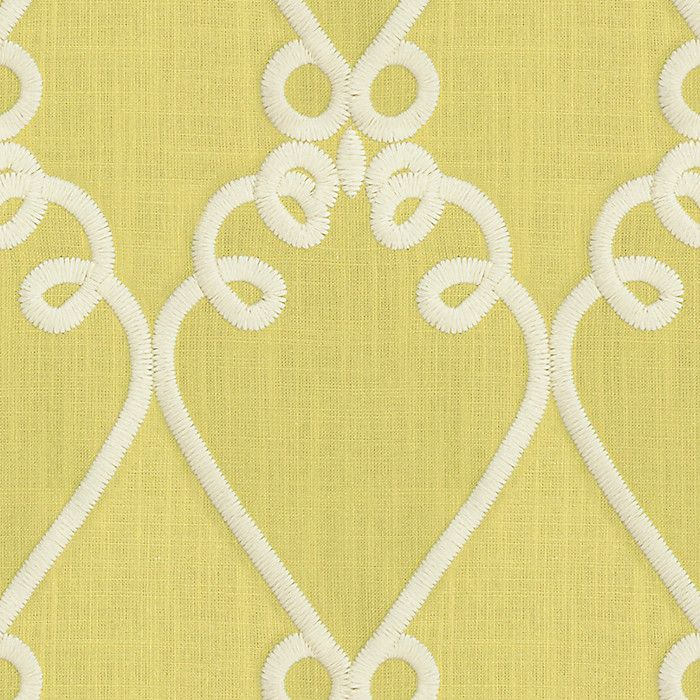 Green Embroidered Scroll Fabric Loop de Loom Celery
