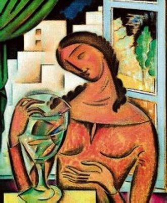 Κωνσταντίνος Παρθένης, Konstantinos Parthenis,  (1878-1967), «Γυναίκα με Χρυσόψαρα», πριν το 1932, λάδι σε μουσαμά, 80x65 εκ