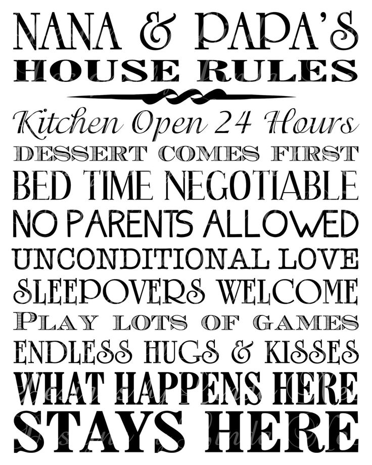 Nana And Papa S House Rules Wall Art Printable From
