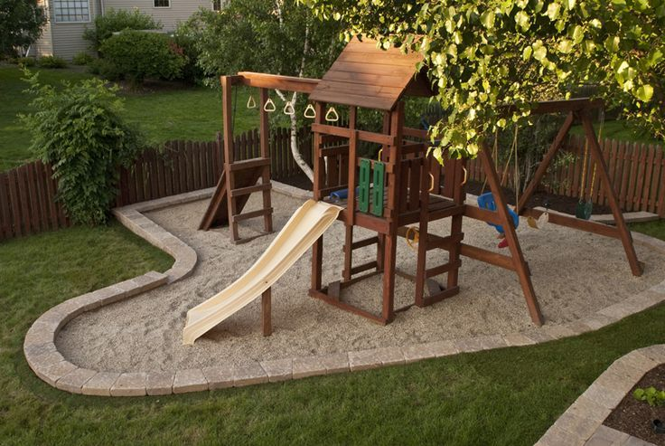 Backyard Playset Landscaping, Diy Swingset Ideas, Kids Playset Ideas, Backyard…