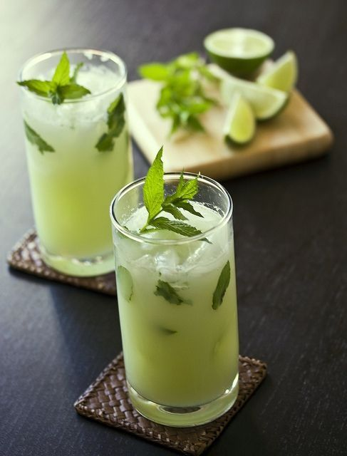 smoothie! 1/2 cup pear, 1/2 cup lime, 1/2 cup water, mint and ginger