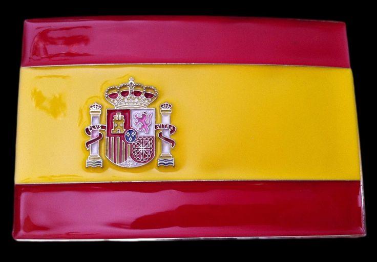 SPAIN SPANISH WORLDCUP SOCCER CHAMPS FLAG BELT BUCKLE