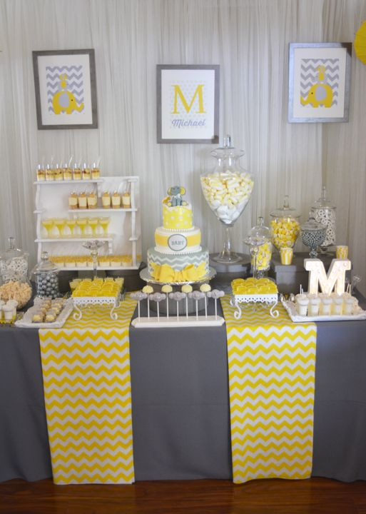 A Modern Chic Elephant Baby Shower With Yellow Gray And White Hues Paper Umbrellas Custom Made Desserts