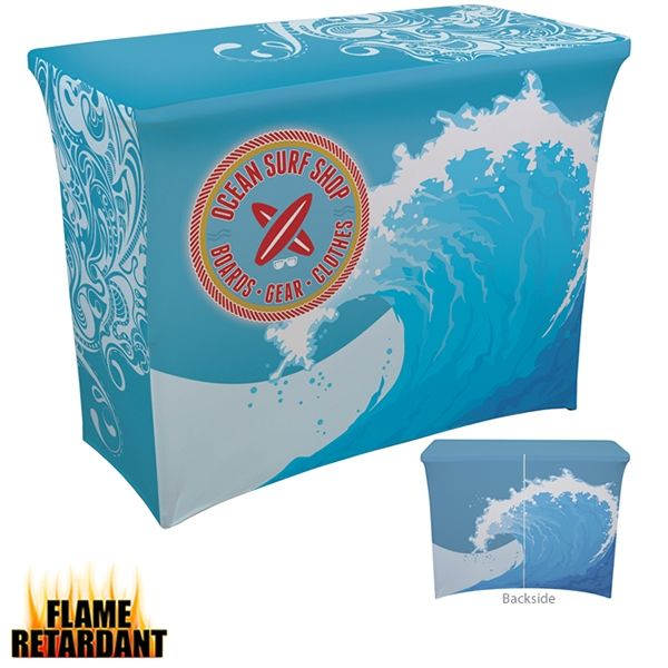 Customized 4 Ft Ultrafit Demo Table Cover Dye-Sub Full Bleed | Promotional UltraFit Tablecloths | Branded Trade Show Products