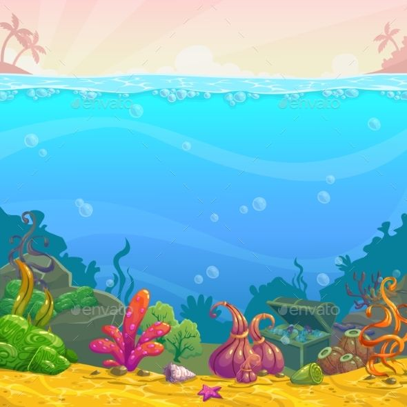 Cartoon Underwater Background Cartoon Underwater Background Underwater Background Cartoon Background Fish Illustration