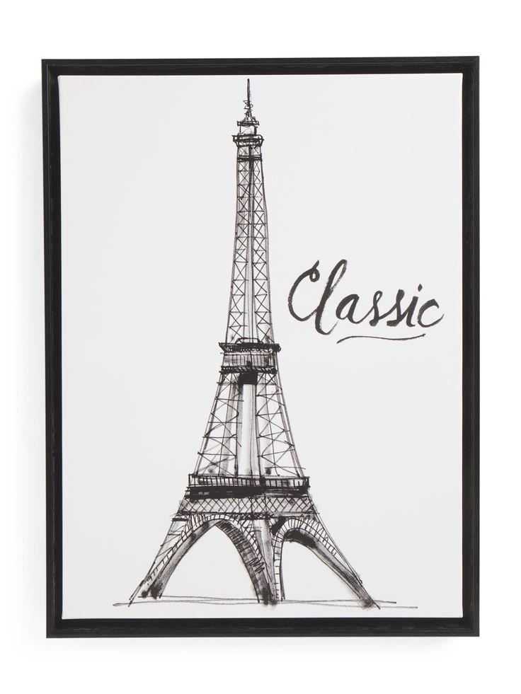 18x24 Eiffel Tower Framed Canvas Art