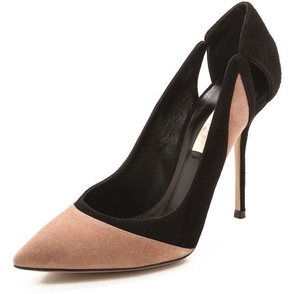 Casadei Cutout Suede Pumps - Fard/Black (26.825 RUB) found on Polyvore