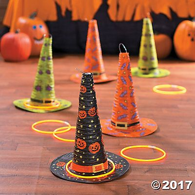 are you looking for a fun activity for kids to do during your halloween party take a look at this classic halloween witch hat ring toss game idea - Game Ideas For Halloween Party