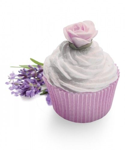 Lavender Fields creative cupcakes soap Inspired by the typical French lavender fields, this lovely soap finished with a silk lila flower  has  a contemporary twist on a classic lavender fragrance.  Lavender scented soaps are a wonderful way to relax, cleanse and rejuvenate the body and spirit.