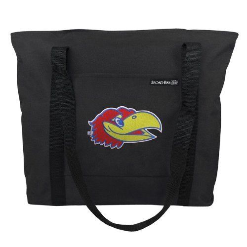 "University of Kansas Tote Bag KU Jayhawks Logo - For Travel or Beach Gift Ideas for Man Men Him Her Women Ladies or College Fans Students OFFICIAL NCAA MERCHANDISE by Broad Bay. What better way to show your college spirit than with our top-selling University of Kansas tote bag! Features include a double top-zip closure, an exterior slip pocket, heavy duty handles, and a reinforced bottom. 16.5"" x 12.5"" x 5"""