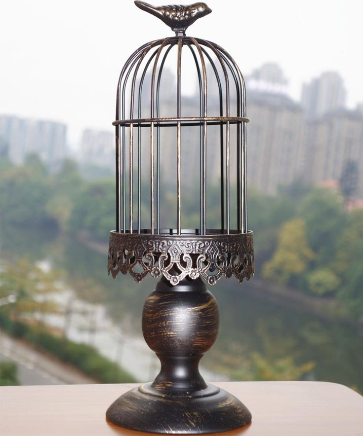 Hand Made Big Wrought Iron Vintage Birdcage Candleholder Moroccan Lantern Bird Cage Wedding Decoration