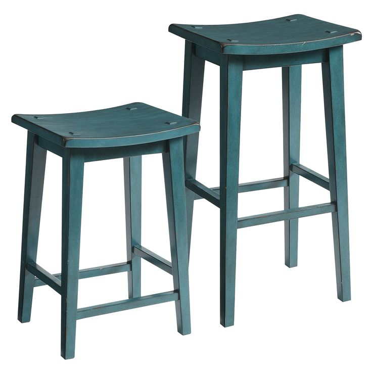 Lawson Backless Bar & Counter Stools - Teal - Hardwood