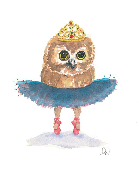 Owl Watercolor Original Painting Ballet Owl by WaterInMyPaint, $40.00
