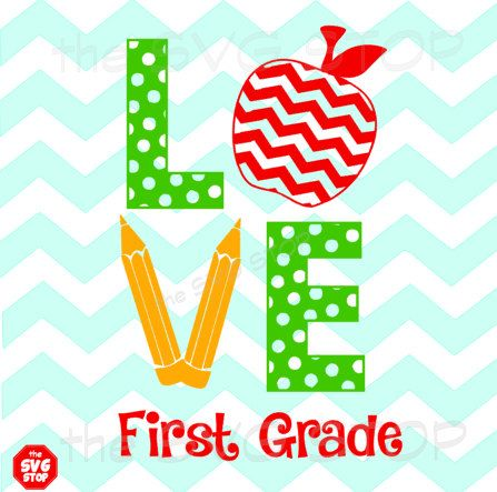 Teacher Love with Apple & Pencils SVG and studio files for Cricut, Silhouette, Vinyl Cutters and Screen Printing