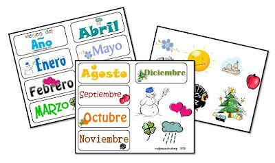 Printables for days of the week, months, colors, ABC's and numbers in Spanish.