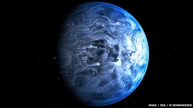 """""""Although it might resemble Earth from a distance, HD189733b is a huge gas giant which orbits close to its host star.  The temperature of the planet's atmosphere is a scorching 1,000C, and it rains glass, sideways, in howling 7,000km-per-hour winds."""""""
