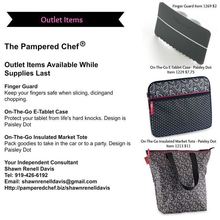The Pampered Chef - Outlet Sales Awesome gift idea's for upcoming events, especial wedding gifts. Outlet Items Available While Supplies Last. Prices Range from: $2 - $11  Click on the link below: http://www.pamperedchef.com/pws/shawnrenelldavis/search-browse-results?itemType=TPCProduct&searchText=&N=2&browseCategories=&categoryBanner=&Nr=Outlet%3Atrue&Ns=TPCProduct.p_price|0 #pamperedchef #gifts #cheftools