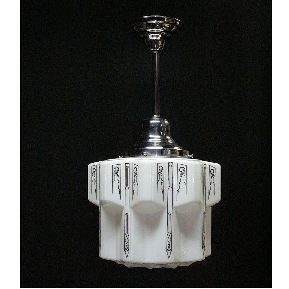 Superb Early Department Store Or Schoolhouse Style Electric Ceiling Lighting  Fixture. White Milk Glass Globe Holds Original Black Stenciling With Little  Loss Of ...
