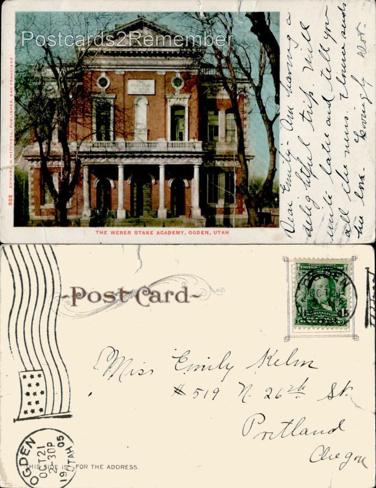 c1905 THE WEBER STAKE ACADEMY NOW WEBER STATE COLLEGE OGDEN, UT UDB POSTCARD
