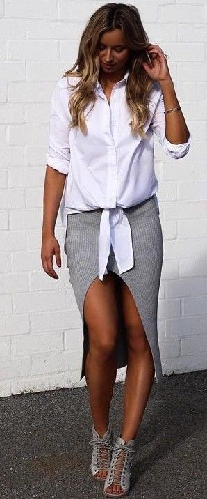 #summer #fblogger #outfits | White Shirt + Grey Ribbed Midi Skirt - cotton shirts mens, men's denim button down shirt, menswear shirt *ad
